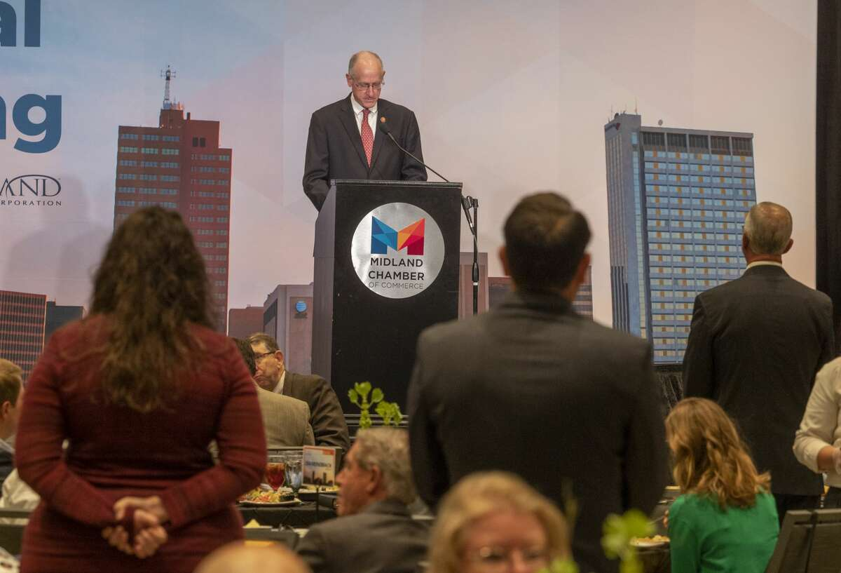 U.S. Rep Mike Conaway installs the new Chamber Board members, from their tables, 09/03/2020 during the Chamber of Commerce 2020 Annual meeting at the Bush Convention Center. Tim Fischer/Reporter-Telegram