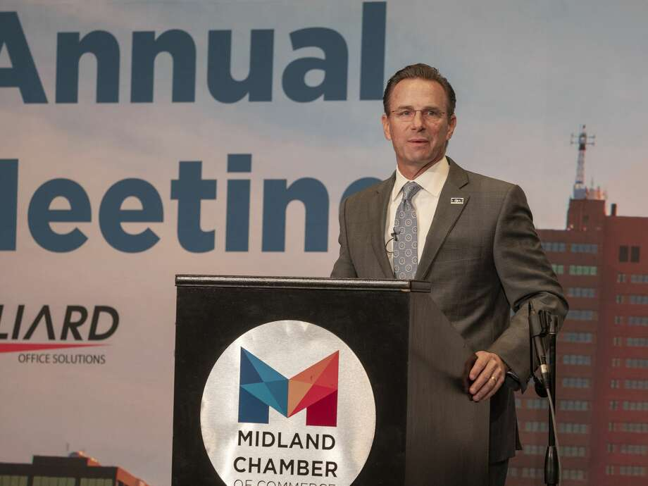 Mayor Patrick Payton gives his State of the City 09/03/2020 during the Chamber of Commerce 2020 Annual meeting at the Bush Convention Center. Tim Fischer/Reporter-Telegram Photo: Tim Fischer/Midland Reporter-Telegram