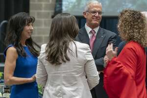 Midlanders talk together 09/03/2020 before the Chamber of Commerce 2020 Annual meeting at the Bush Convention Center. Tim Fischer/Reporter-Telegram