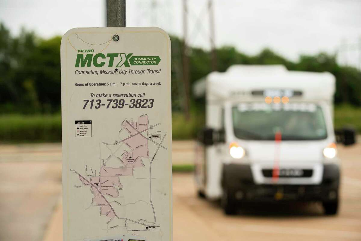 A Missouri City Community Connector shuttle bus waits for riders at the Missouri City Park and Ride on Sept. 3, 2020.
