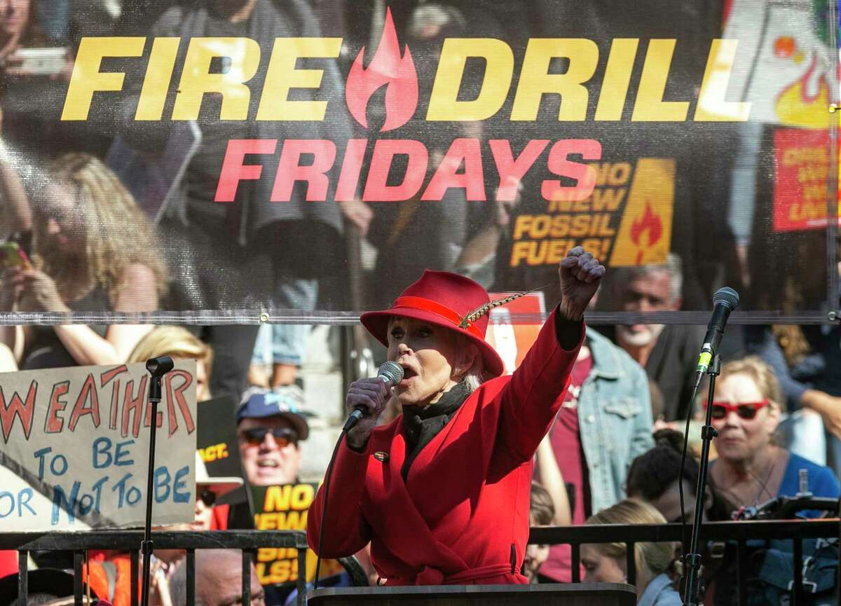 Jane Fonda leads a Fire Drill Fridays rally, calling for action to address climate change at Los Angeles City Hall Friday, Feb. 7, 2020. A half-century after throwing her attention-getting celebrity status into Vietnam War protests, Fonda is now doing the same in a U.S. climate movement where the average age is 18.