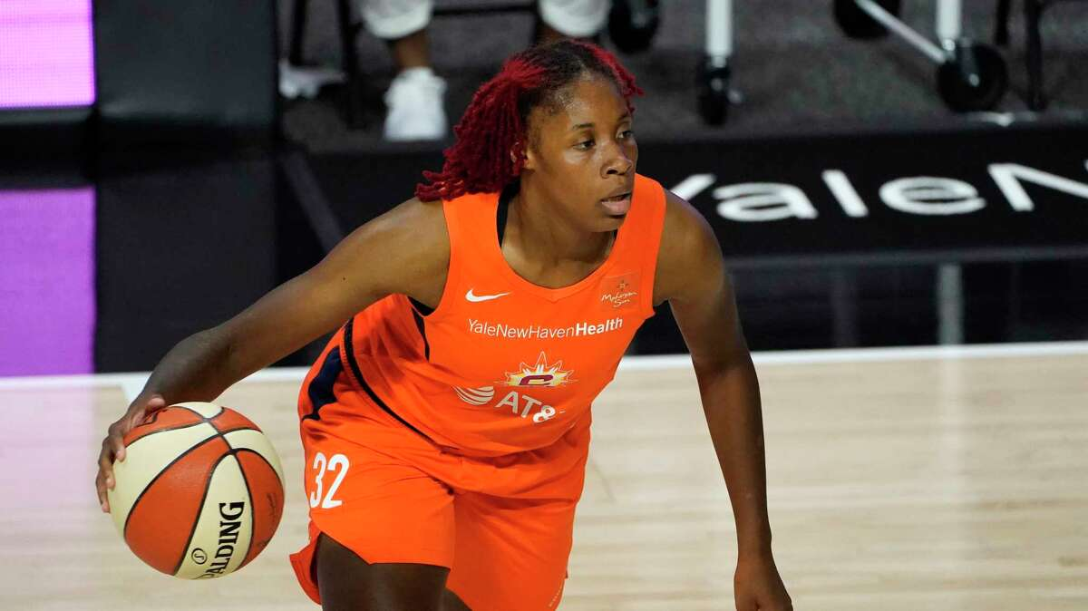 Connecticut Sun guard Bria Holmes (32) during the second half of a WNBA basketball game against the New York Liberty Tuesday, Sept. 1, 2020, in Bradenton, Fla. (AP Photo/Chris O'Meara)