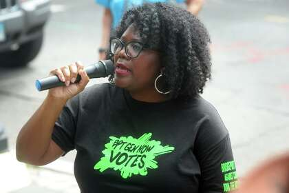 Gemeem Davis, of Generation Now, speaks during a rally in front of the Broad Street Steps, in Bridgeport, Conn. Sept. 3, 2020.