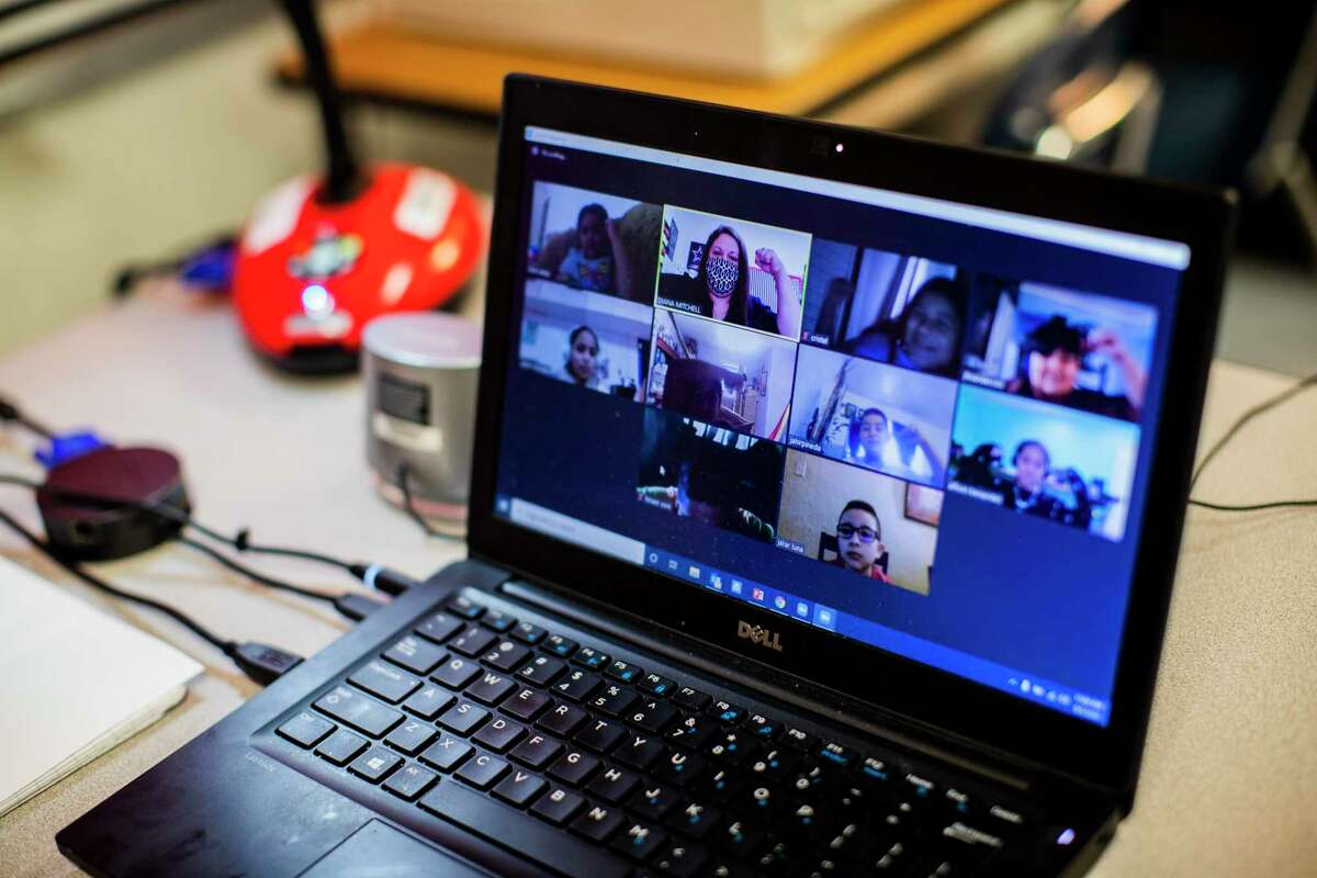Morgan Elementary Magnet School students are seen on fourth-grade bilingual reading teacher Diana Mitchell's computer during a virtual class Thursday, Sept. 3, 2020, in Galveston.