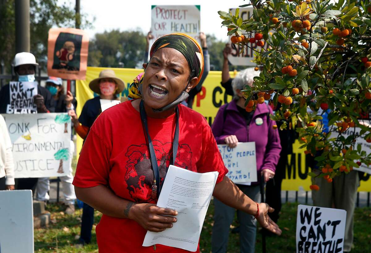 Sabrina Hall speaks at a rally by residents and community activists in San Francisco, Calif. on Tuesday, Sept. 1, 2020 to demand that the land where a large residential community under development at the former Hunters Point Naval Shipyard site be decontaminated.