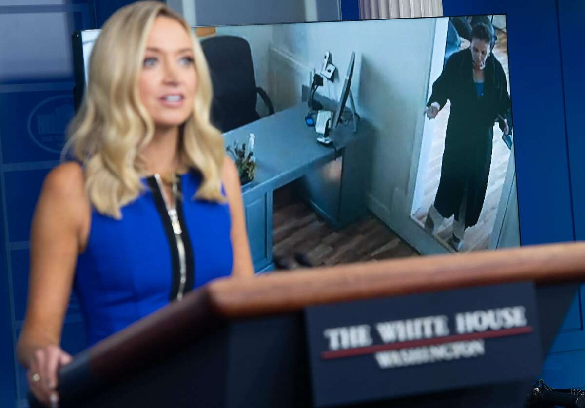 White House Press Secretary Kayleigh McEnany speaks while a video plays of Speaker of the House Nancy Pelosi walking into a hair salon as she holds a press briefing in the Brady Press Briefing Room of the White House in Washington, DC, September 3, 2020. (Photo by SAUL LOEB / AFP) (Photo by SAUL LOEB/AFP via Getty Images)