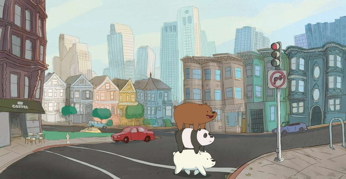 The bears form a stack as they wander through San Francisco in