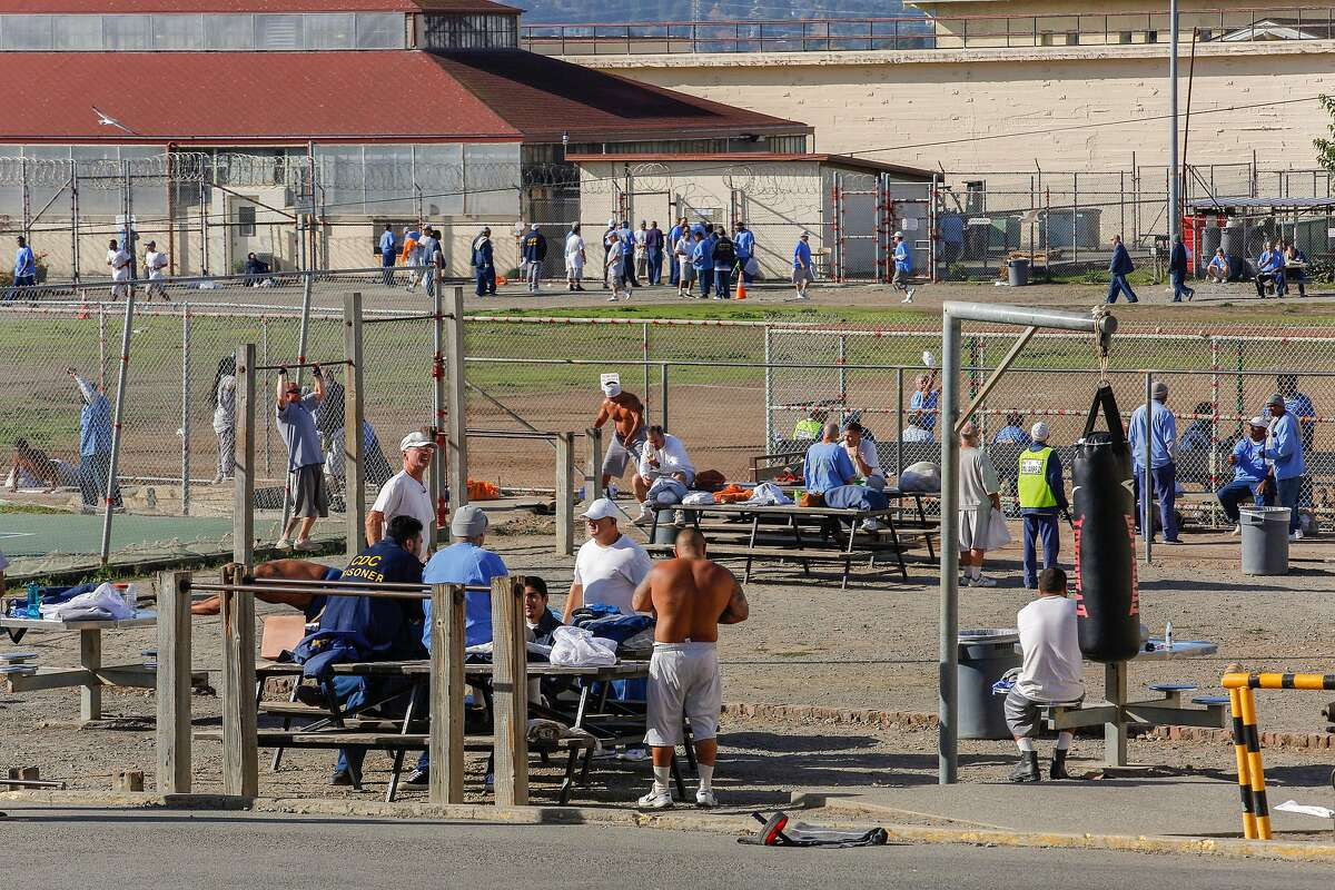 Prisoners at San Quentin State Prison during yard time on Friday, Nov. 22, 2019, in San Quentin, Calif. The prison's 1,000