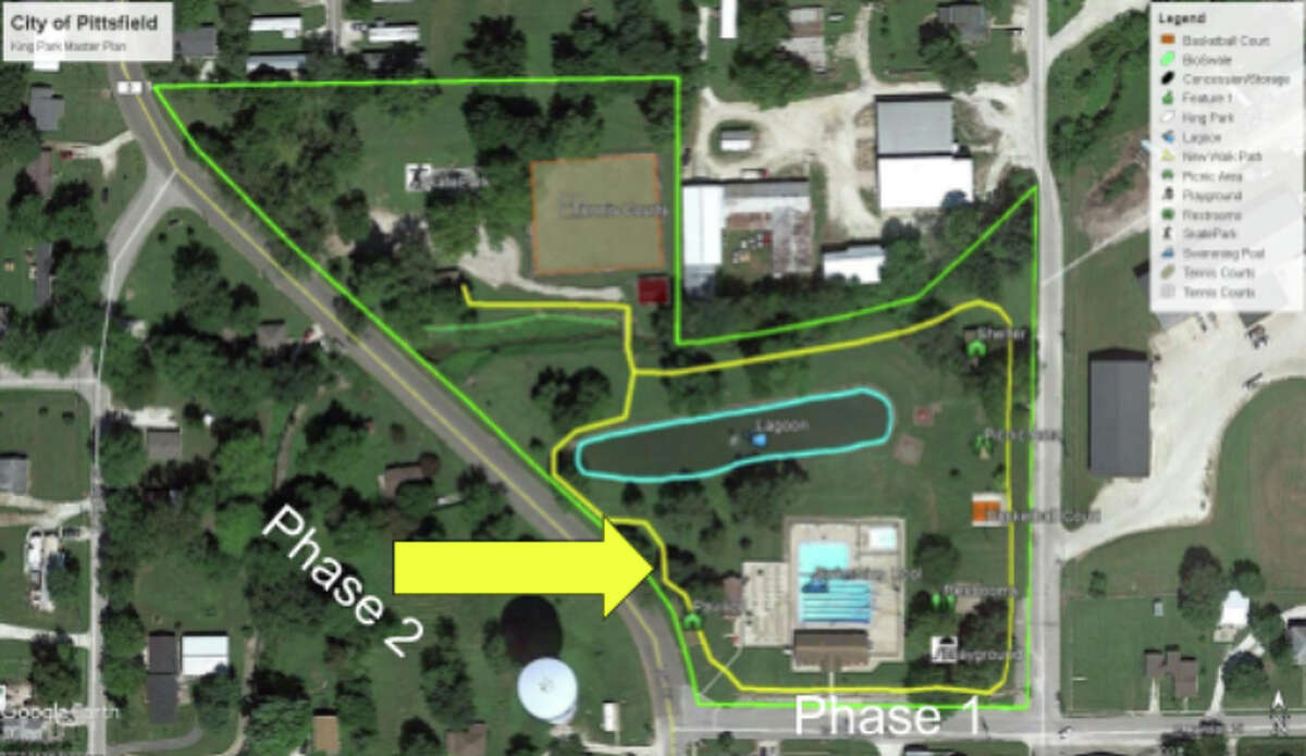 A map of King Park in Pittsfield shows an area on the park's west side where Picture Pittsfield is working on the second phase of building a walking path.