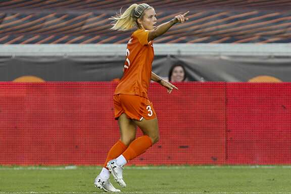 Houston Dash forward Rachel Daly (3) celebrates after scoring a goal against Sky Blue FC during an NWSL match at BBVA Stadium Sunday, July 28, 2019, in Houston.