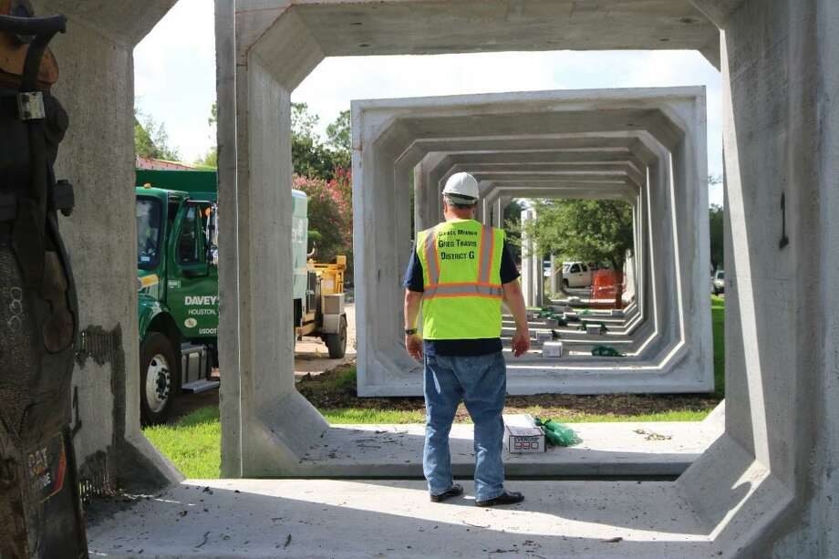 Construction crews are installing 12-by-10-foot box culverts beneath the street on its way to the bayou increasing the amount of stormwaterthe system can hold. Photo: Courtesy Houston City Councilman Greg Travis