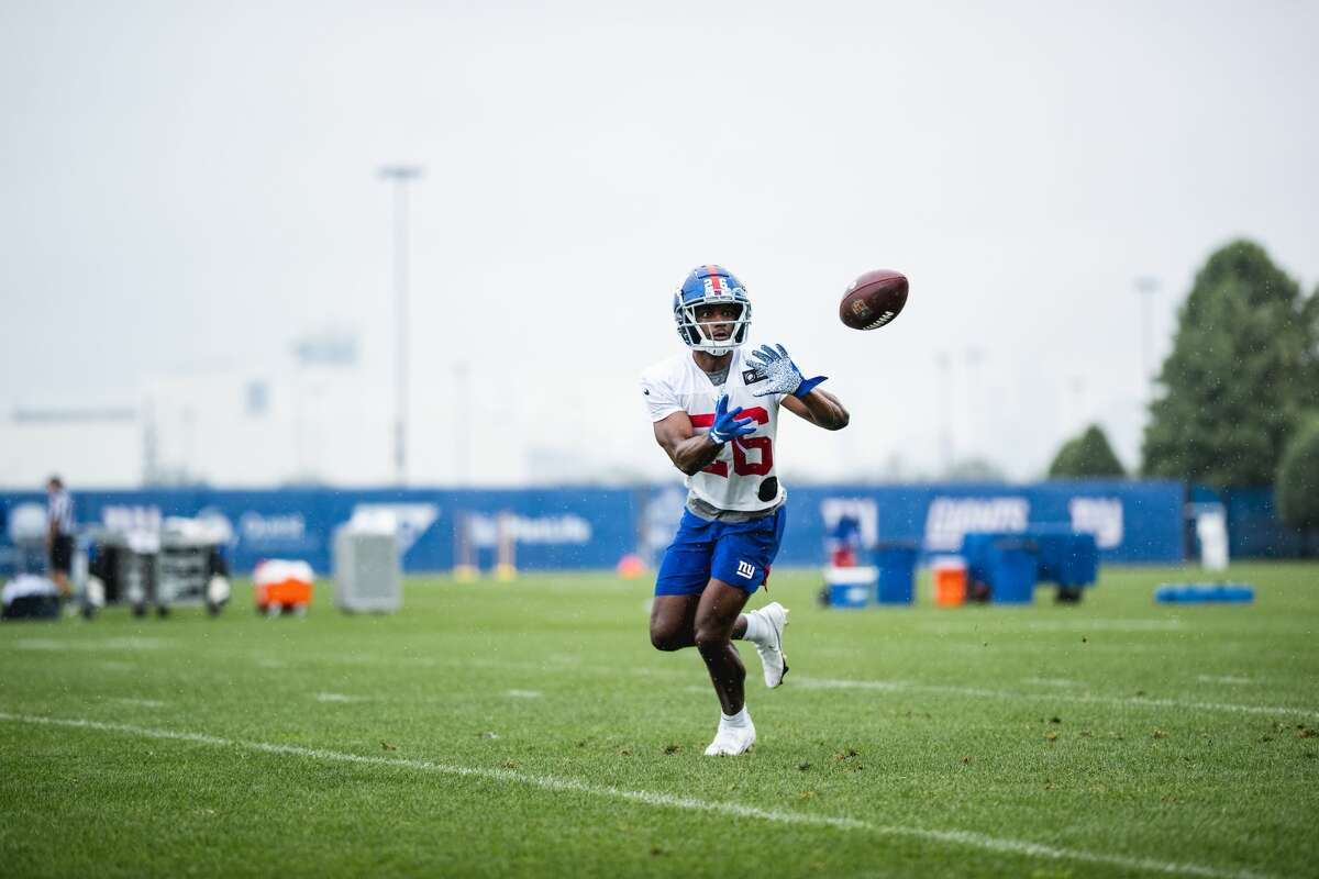 Former UAlbany cornerback Jarren Williams works out with the Giants. (Courtesy of New York Giants)