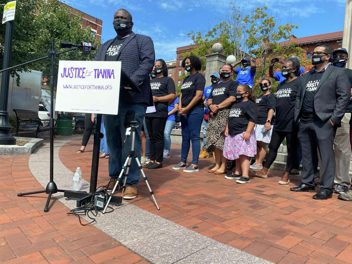 Activists gather in New Britain Thursday, Sept. 3 to call for the release of Tianna LaBoy, who gave birth to her daughter on a prison toilet while incarcerated in Niantic.