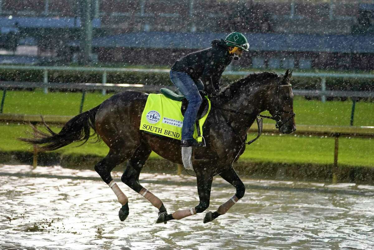 Kentucky Derby entry South Bend runs during a workout at Churchill Downs, Thursday, Sept. 3, 2020, in Louisville, Ky. The Kentucky Derby is scheduled for Saturday, Sept. 5th.