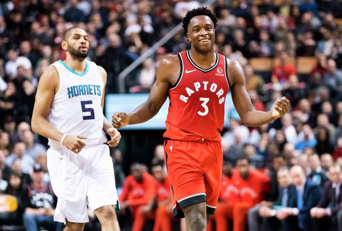 TORONTO, ONTARIO - NOVEMBER 18: OG Anunoby #3 of the Toronto Raptors smiles during play against the Charlotte Hornets during their NBA basketball game at Scotiabank Arena on November 18, 2019 in Toronto, Canada. NOTE TO USER: User expressly acknowledges and agrees that, by downloading and or using this photograph, User is consenting to the terms and conditions of the Getty Images Agreement. (Photo by Mark Blinch/Getty Images)