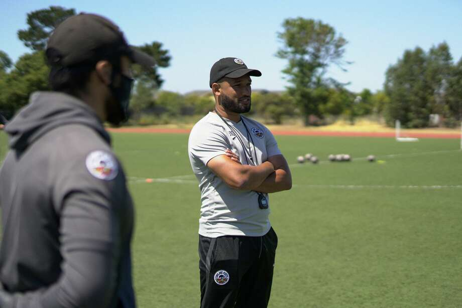 Oakland Roots Head Coach Jordan Ferrell conducts a practice at the College of Alameda. Photo: Courtesy Oakland Roots