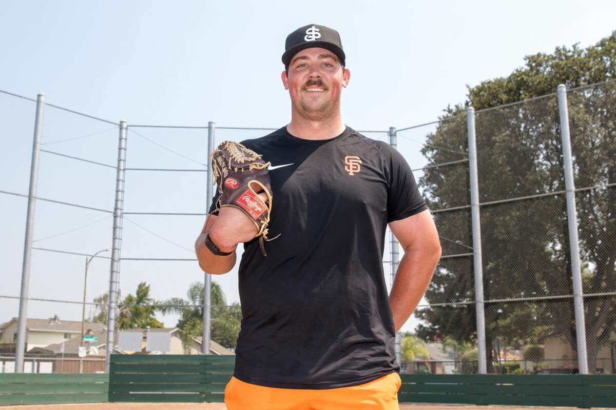 John Gavin worked on throwing a baseball at Gunderson High School in San Jose on Sept. 2, 2020. Gavin, a minor-league pitching prospect for the San Francisco Giants, is currently rehabbing from Tommy John surgery.