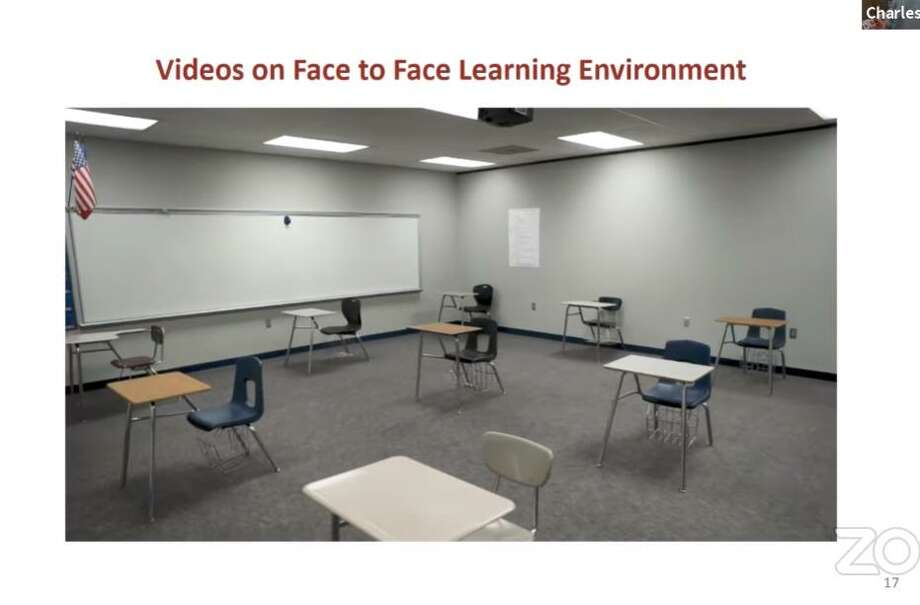 A Fort Bend ISD video shows a redisgned classroom with desk spaced out to allow extra room for social distancing. Photo: FBISD Image