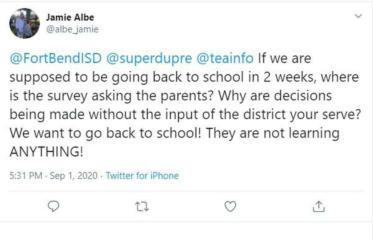 Fort Bend ISD's plans to delay re-opening schools for until Oct. 9 drew both praise and criticism on social media during Wednesday's school board meeting. Check out our photo gallery that includes screen shots of a few of the comments posted on Twitter by the district's lively mix of online fans and critics.