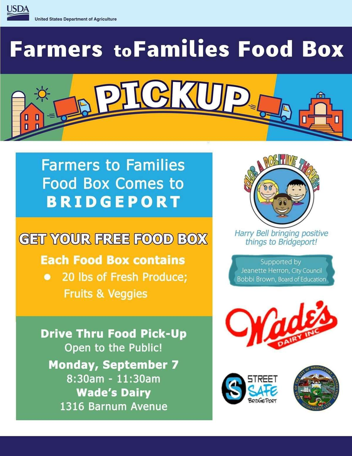 A free box containing 20 pounds of fresh fruits and vegetables will be given to area residents who come to Wade's Dairy, 1316 Barnum Avenue Labor Day between 8:30 and 11:20 a.m.