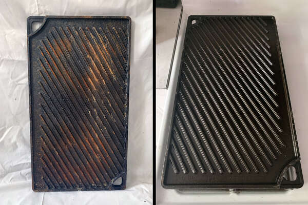 I found this Lodge Reversible Cast Iron Griddle/Grill on the street and restored it to its prior glory with just a few simple household tools and about 15 minutes of real effort.