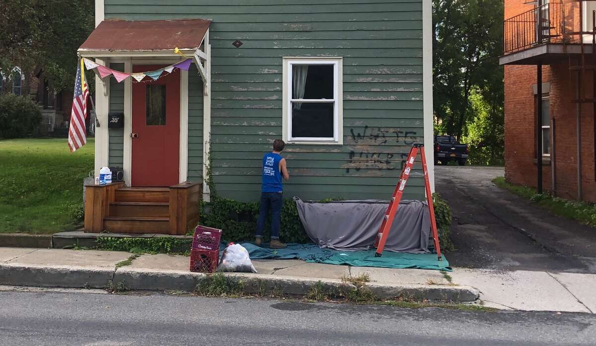 A house in Greenwich was the target of racially charged graffiti early Thursday morning.