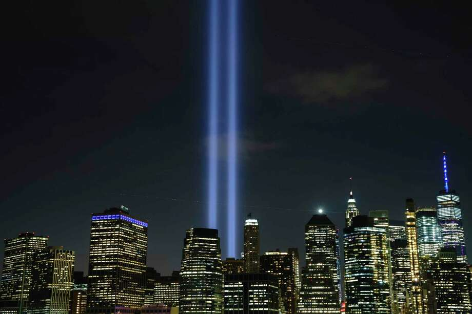"""The """"Tribute in Light"""" rises skyward on the 18th anniversary of the 9/11 terrorist attacks, Sept. 11, 2019, in New York City. Photo: Drew Angerer / TNS / Getty Images North America"""