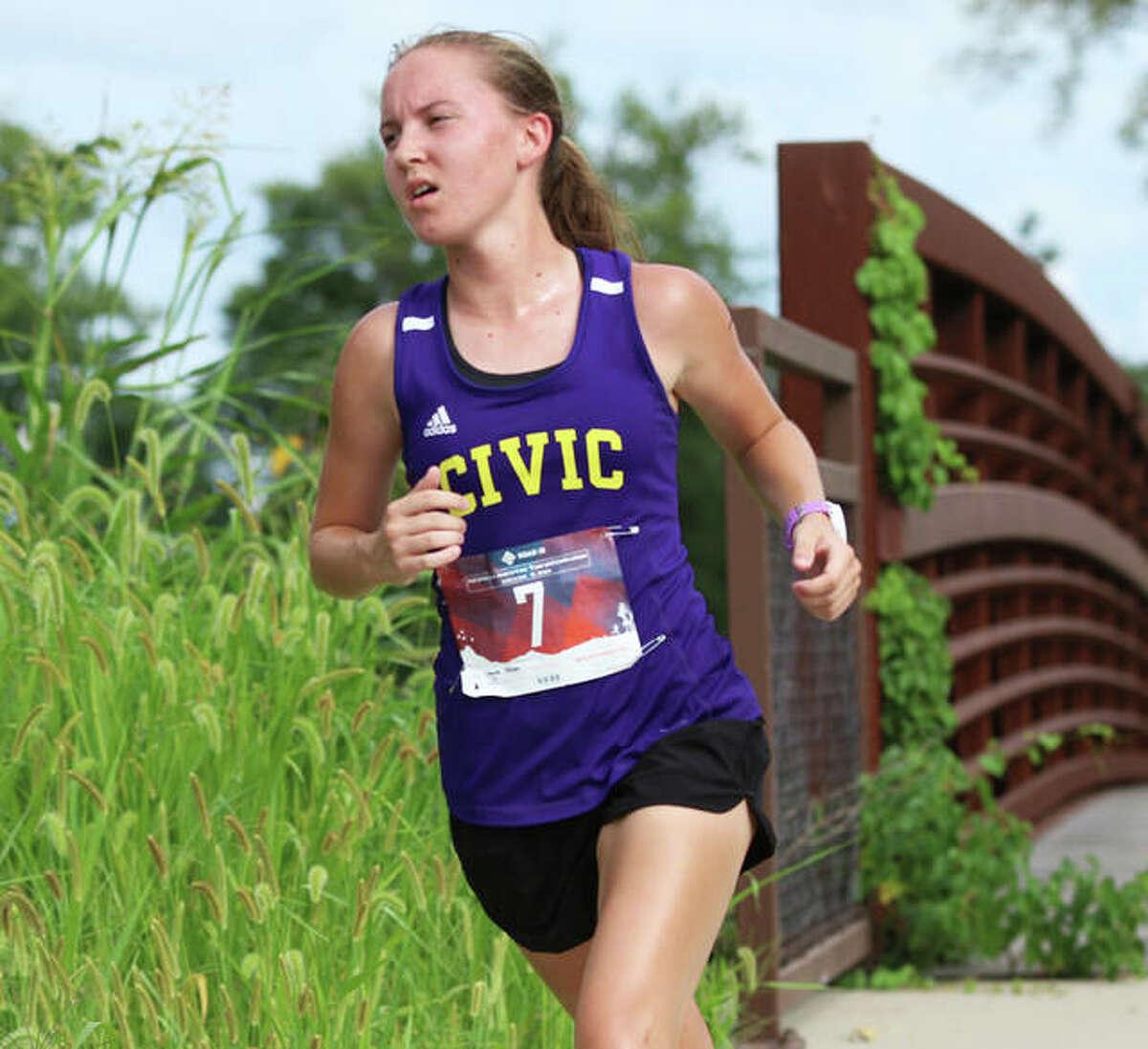 CM sophomore Hannah Meiser runs at the Bethalto Sports Complex, where she won the girls race Aug. 26 in a dual meet with Roxana.