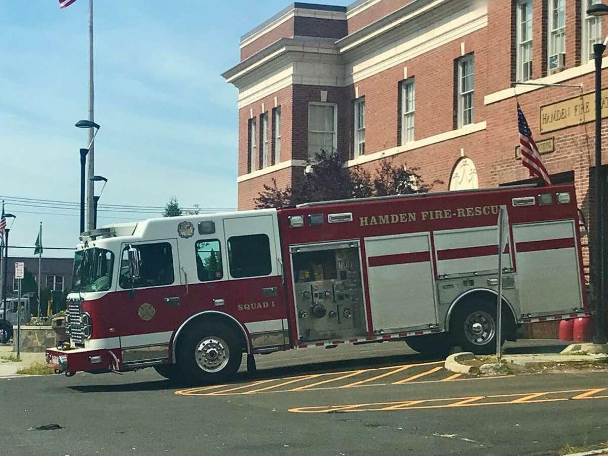 A Hamden Fire Department firetruck.