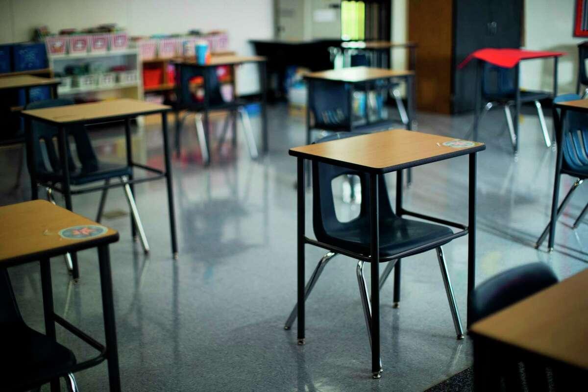 Empty LA Morgan Elementary School fourth grade during COVID-19 pandemic on Thursday, Sept. 3, 2020, in Galveston.