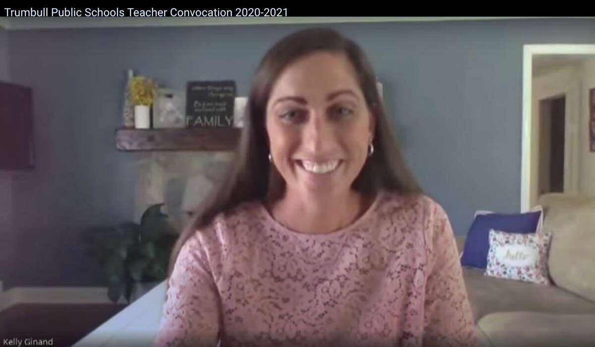 Kelly Ginand thanks her colleagues during the 2020 Trumbull teacher convocation.