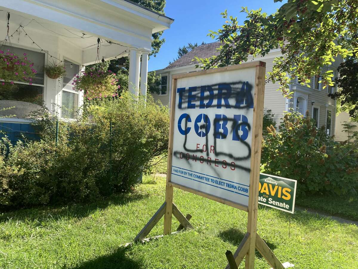 A Tedra Cobb sign was likely hit by the same vandal on Thursday morning, police said.