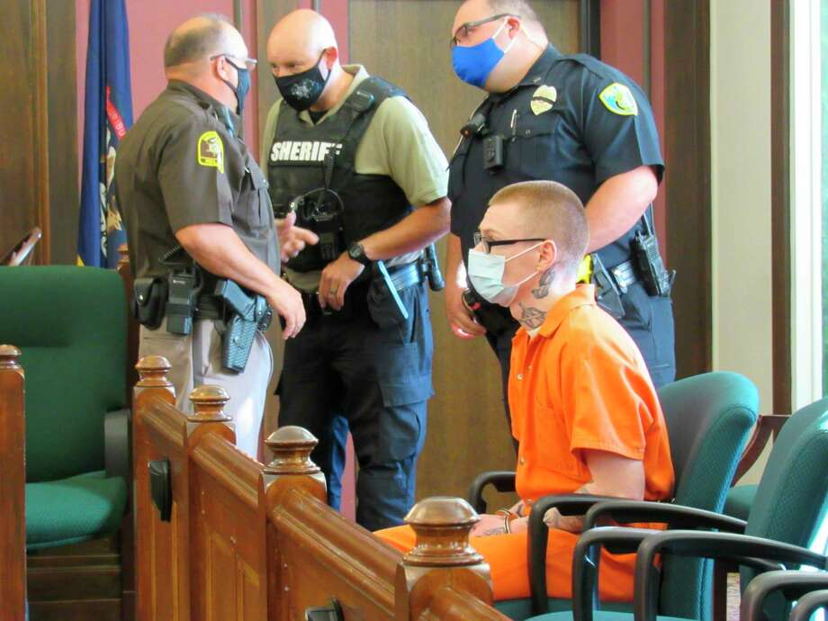 Damian Garrett awaits sentencing for second degree murder for his involvement in the Sept. 17, 2019 death of 19-month-old Skylar Papple, appearing in the 42nd Circuit Court on Sept. 4, 2020. (Mitchell Kukulka/Mitchell.Kukulka@mdn.net)