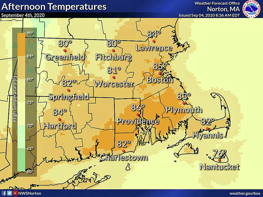 The warmest temperatures are expected on Friday with highs in the 80s. Photo: NWS Graphic