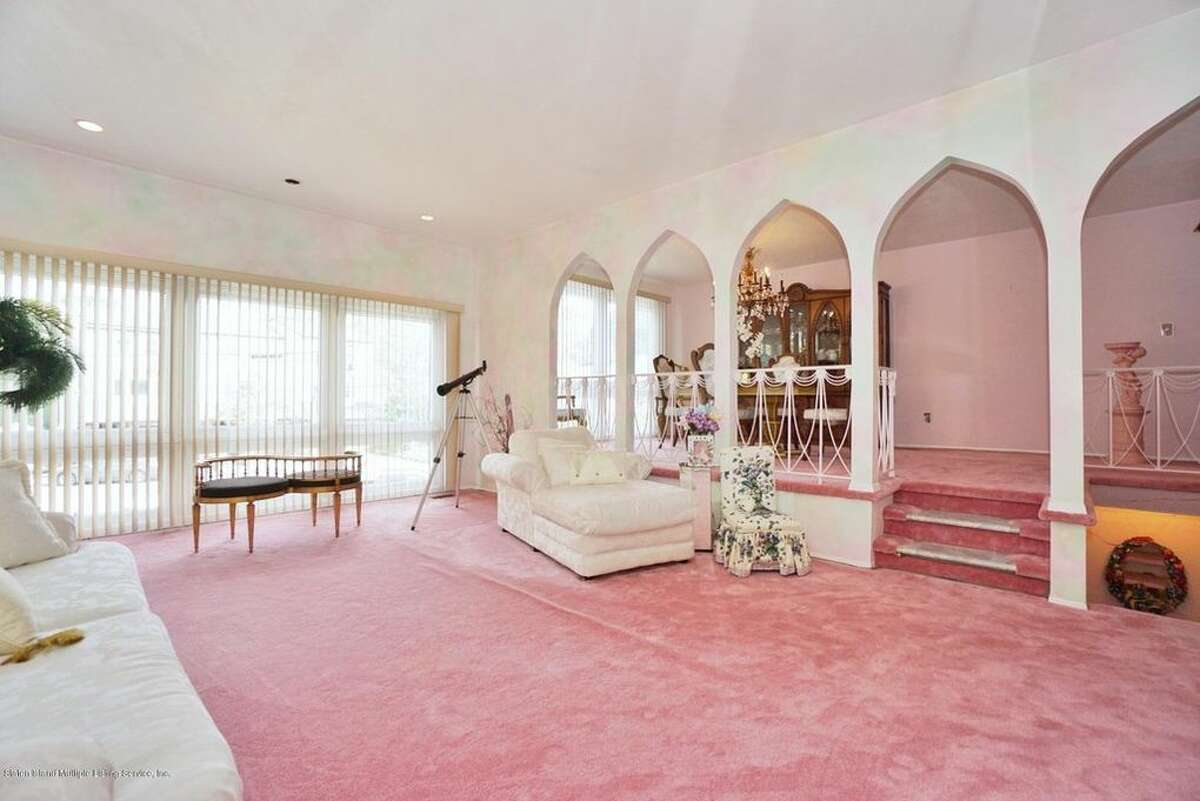 Built in 1970, the home on Fingerboard Road is on the market for $829,000. It's had only one owner-a person who is partial to the color pink.