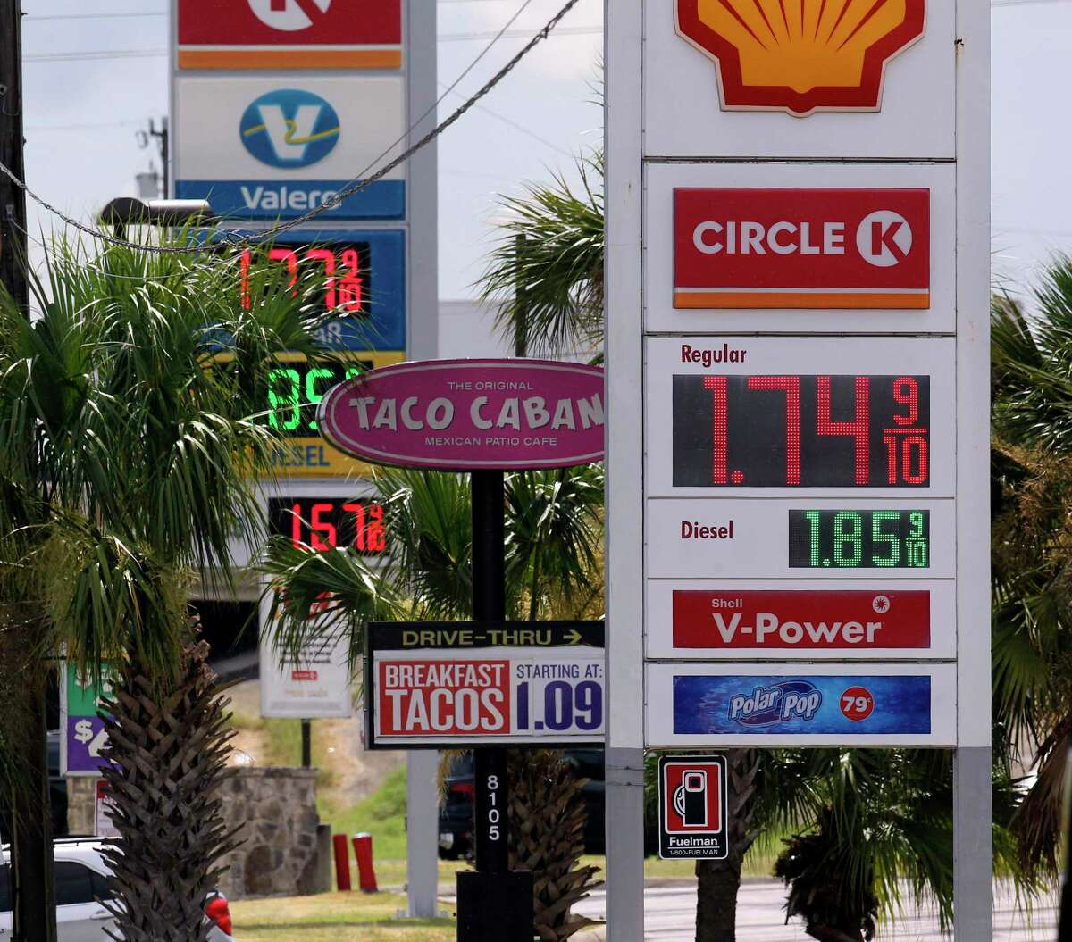 Gas prices are displayed on Walzem near I35 on June 16, 2020. Currently, the average gas price in the San Antonio metro area is the lowest in Texas.