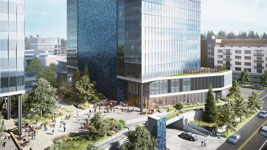 An Amazon rendering of the new office space in Bellevue, where the company plans to add 25,000 jobs. Photo: Amazon