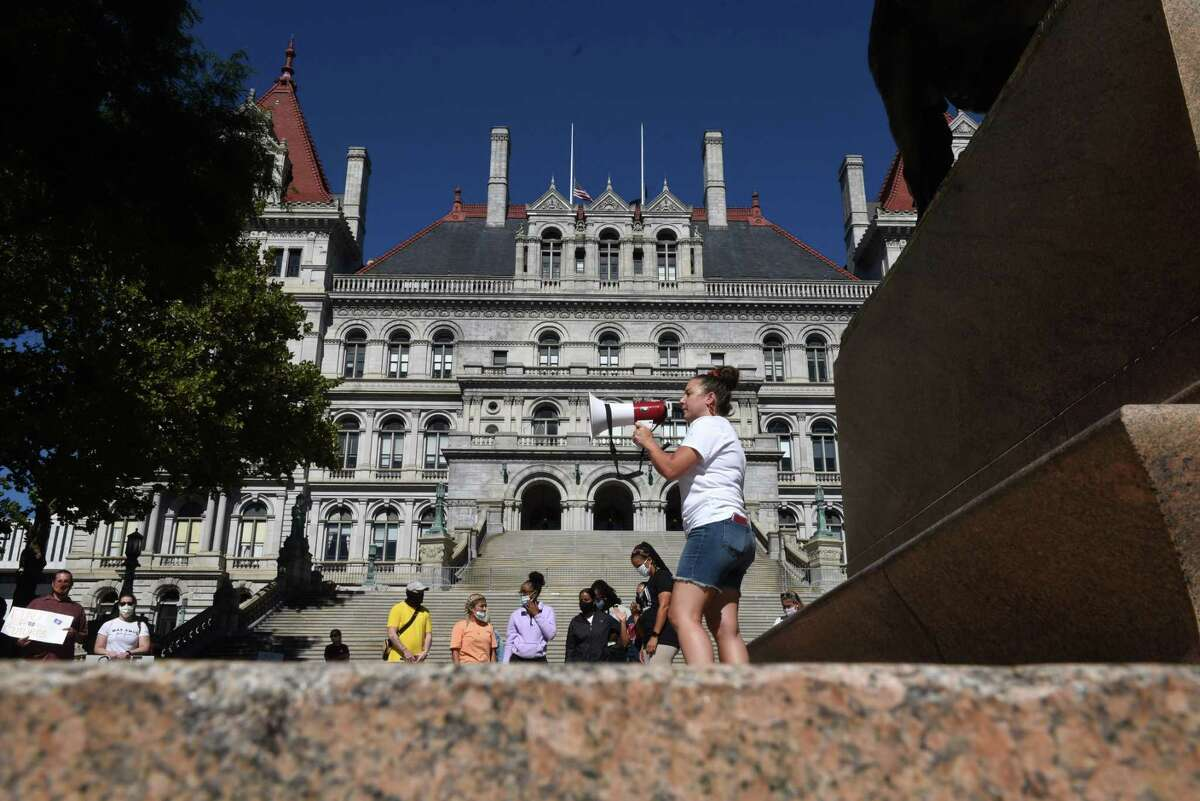 Parents rally against school funding cuts on Friday, Sept. 4, 2020, at the Capitol in Albany, N.Y. (Will Waldron/Times Union)