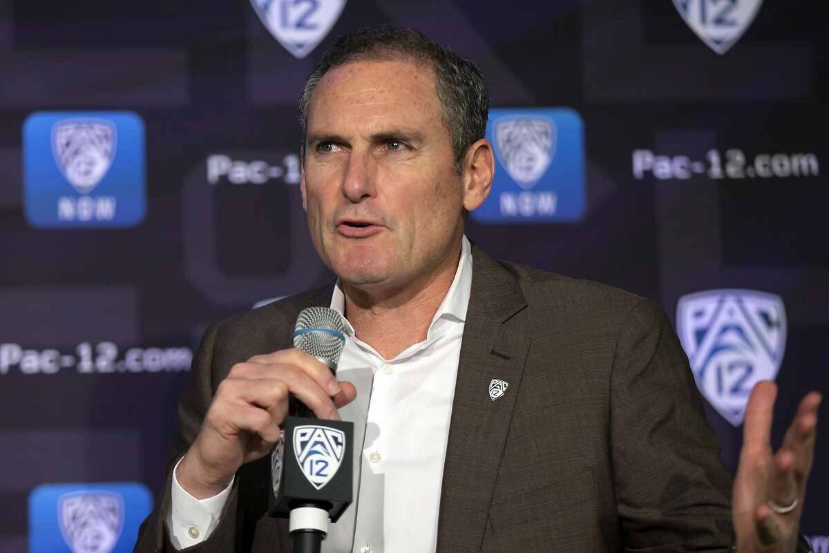Pac-12 Commissioner Larry Scott speaks to reporters during the Pac-12 Conference women's NCAA college basketball media day, Monday, Oct. 7, 2019 in San Francisco. (AP Photo/D. Ross Cameron)
