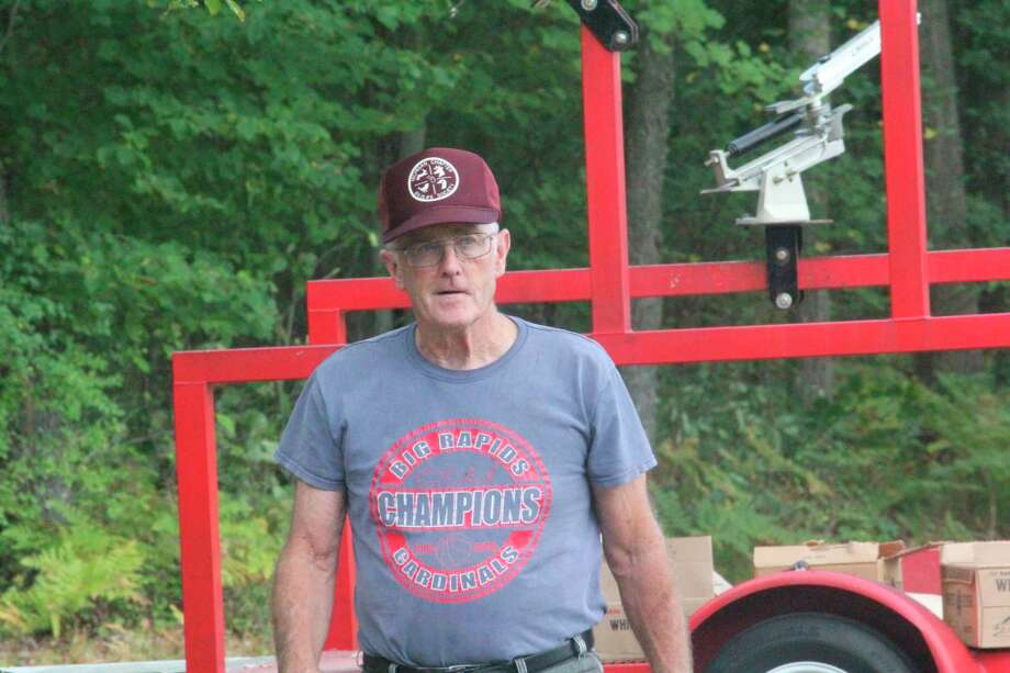 Jeff Greene gets ready for the sporting clays shoot last Saturday at the Mecosta County Rod & Gun Club. (Pioneer photo/John Raffel)