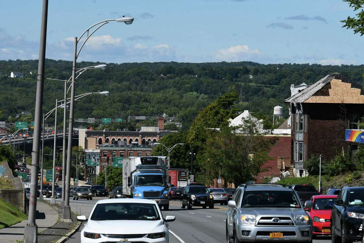 View of Hoosick Street looking west on Friday, Sept. 4, 2020, in Troy, N.Y. The city plans to soften traffic impact on the busy route. (Will Waldron/Times Union)