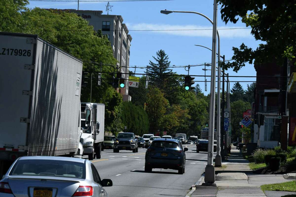 View of Hoosick Street looking east on Friday, Sept. 4, 2020, in Troy, N.Y. The city plans to soften traffic impact on the busy route. (Will Waldron/Times Union)