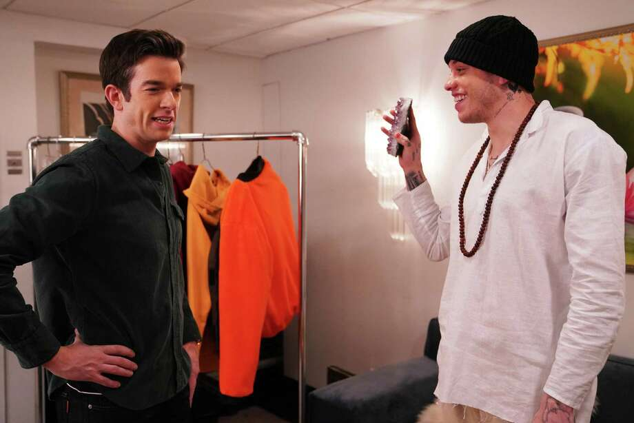 """John Mulaney, left, and Pete Davidson, seen here during a bit on """"Saturday Night Live,"""" will perform stand-up, along with Mike Birbiglia, at South Farms in Morris on Sept. 9. Photo: Rosalind O'Connor / NBC / Getty Images / 2020 NBCUniversal Media, LLC"""