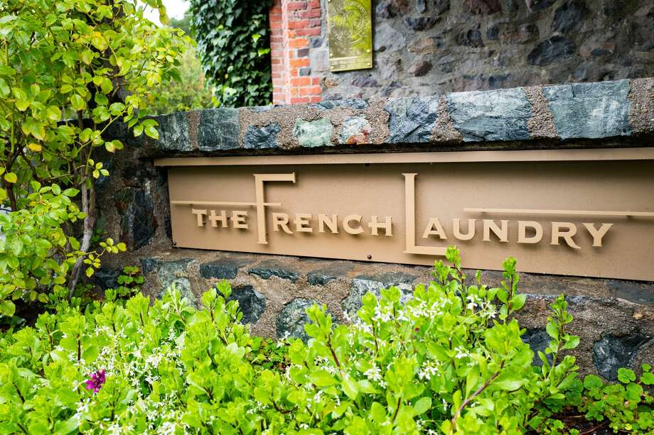 Signage for the French Laundry restaurant in Yountville, Napa Valley, California, operated by chef Thomas Keller and known for being one of the few restaurants in the United States to earn three Michelin stars, November 26, 2016. Photo: Smith Collection/Gado/Getty Images
