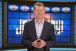 This image released by JEOPARDY! shows Ken Jennings, a 74-time champion the the set of the popular quiz show. Jennings will serve as a consulting producer on season 37, which premieres on Sept. 14. (JEOPARDY! via AP)