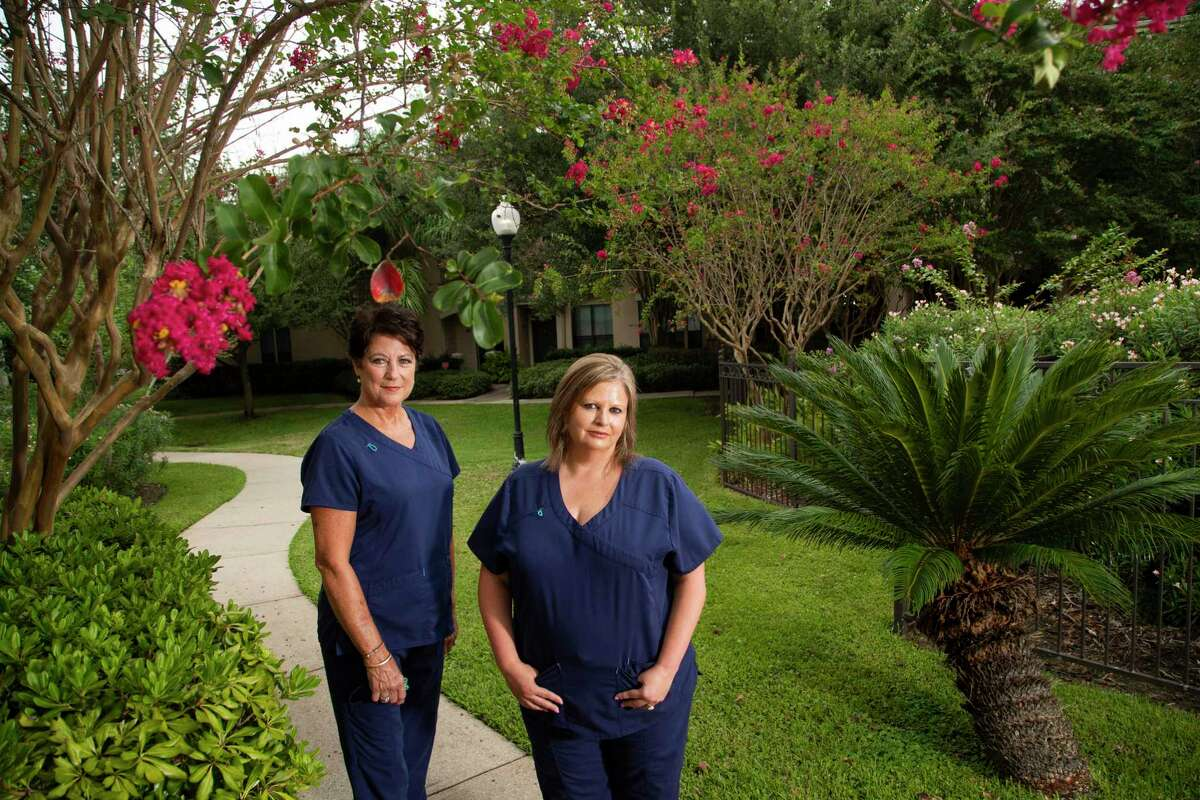 Registered nurses Rhonda Williams, left, and Jeannie Carr, right, who came from Louisiana to Texas to help with COVID-19 in July, hoped they could stay longer but their temporary Texas nursing license ends Sept. 7, 2020 however their contract ends after that. Portrait taken at the apartment complex Thursday, Sept. 3, 2020, in Clear Lake where they are staying while they work in a hospital in Lake Jackson.