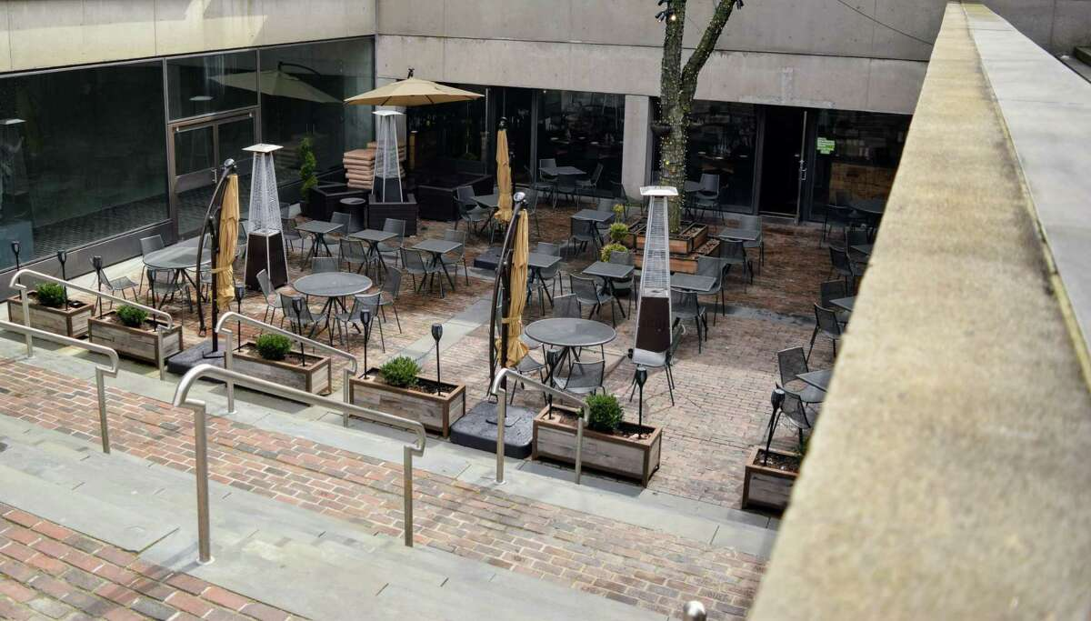 The outdoor area of Harvest Wine Bar in New Haven, as seen in 2018.
