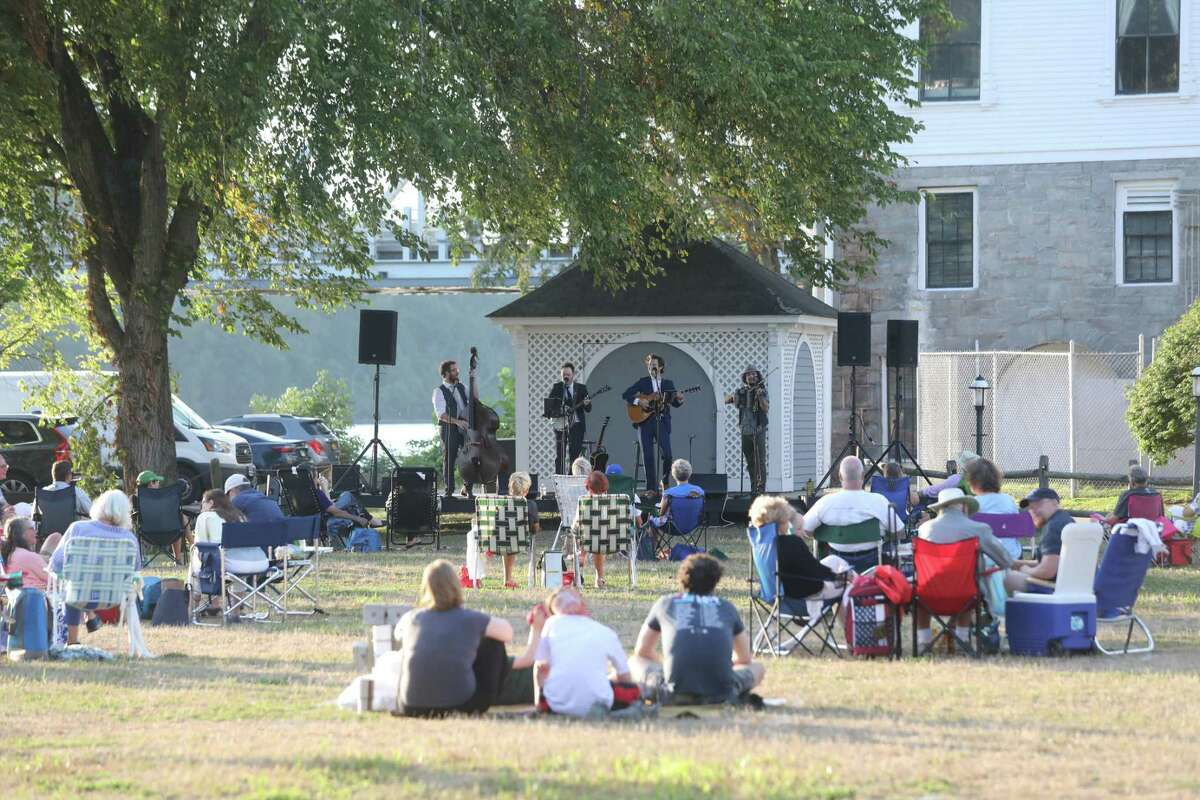 Social distancing for a concert on the lawn at Goodspeed in East Haddam.
