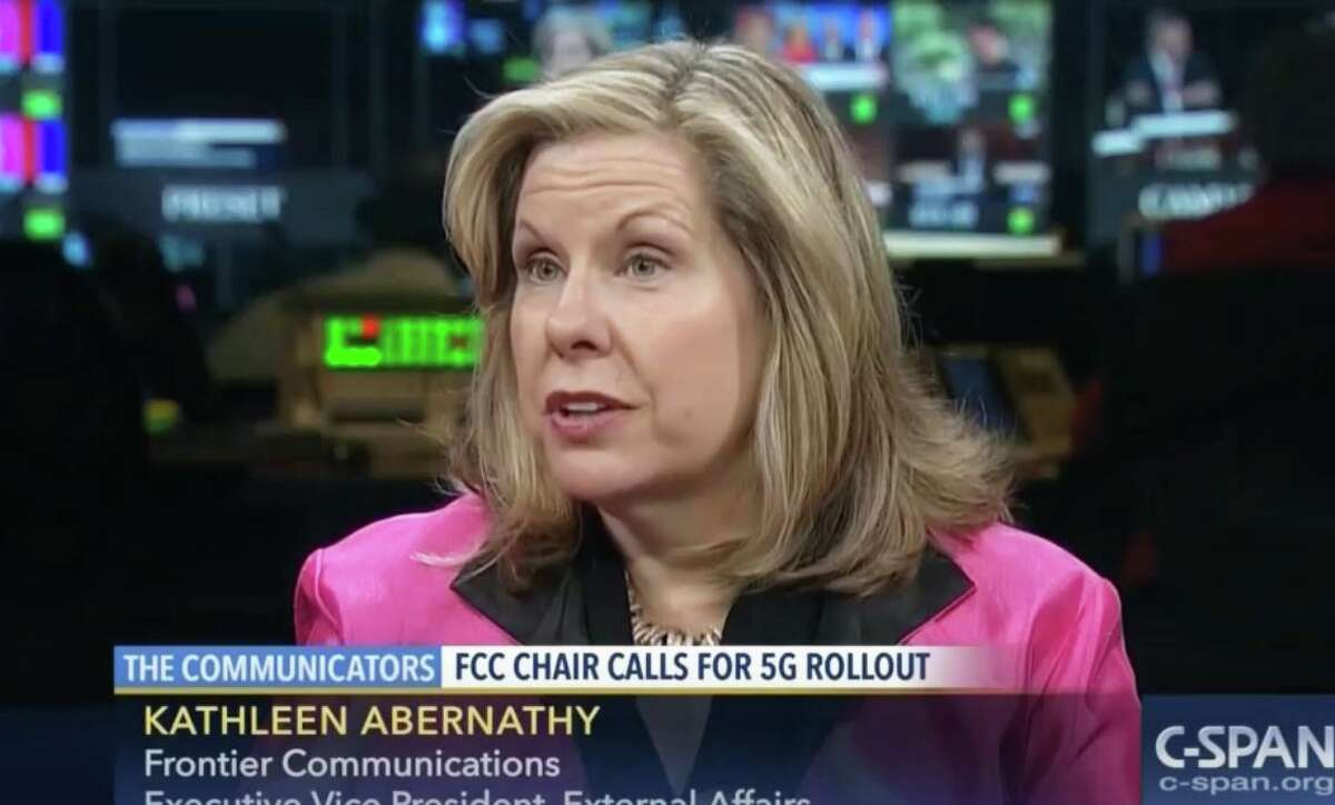 Kathleen Abernathy in a 2016 appearance on C-Span during her tenure as a government relations executive with Norwalk, Conn.-based Frontier Communications.