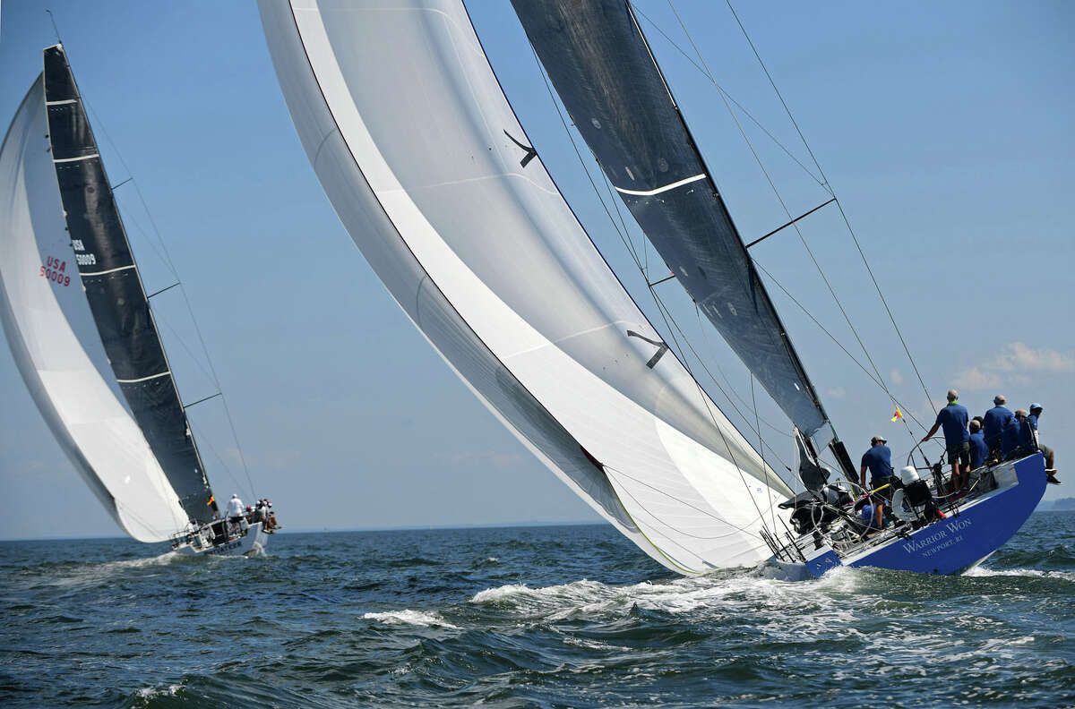 Boats including Warrior Won of the Larchmont NY Yacht Club and Privateer of the New York Yacht Club set out in the Class 16 ORC for the 89th running of Stamford Yacht Club's Vineyard Race Friday, September 4, 2020, in Stamford, Conn. The Vineyard Race is the premier distance race through Long Island Sound.